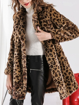 Camel Shawl Collar Shift Casual Long Sleeve Fur and Shearling Coat_1