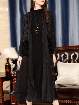 Black Long Sleeve Abstract Casual Coat_1