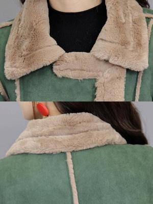 Paneled Zipper Lapel Casual Fur And Shearling Coats_7