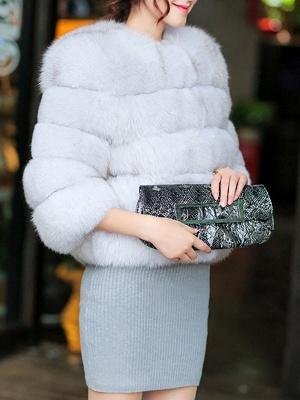 Shift 3/4 Sleeve Fluffy  Fur and Shearling Coat_5