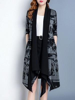 Black Long Sleeve Shawl Collar Paneled Abstract Coat_1