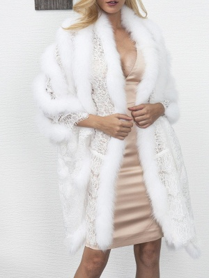 Guipure lace Paneled Fluffy Fur and Shearling Coat_1