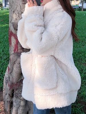 Long Sleeve Pockets Casual Fur And Shearling Coats_8