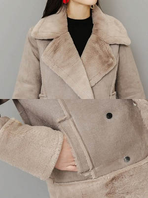 Lapel Long Sleeve Shift Solid Fur And Shearling Coats_7