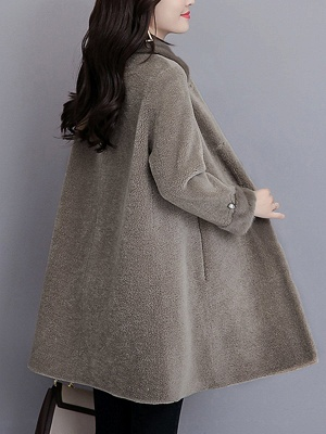 Buttoned Long Sleeve Solid Fur And Shearling Coats_13