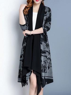Black Long Sleeve Shawl Collar Paneled Abstract Coat_5