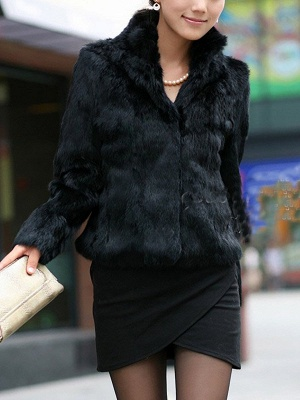 Stand Collar Solid Long Sleeve Fur and Shearling Coat_2
