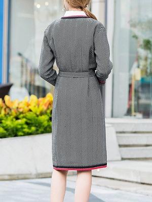 Gray Casual Long Sleeve Paneled Coat_3