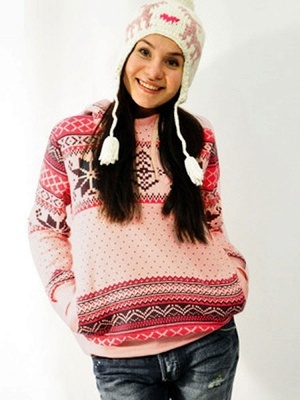 Ethnic Style Snowflakes Printed Thick Fleece Hoodies Casual Hooded Christmas Clothing for Women_5
