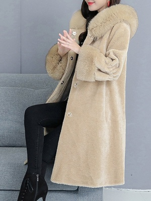 Hoodie Paneled Fluffy Fur And Shearling Coats_10
