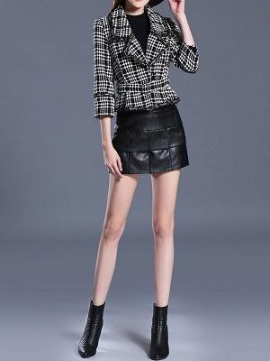 Black Casual Checkered/Plaid Coat_5