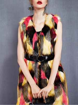 Red Sleeveless Color-block Fluffy  Fur and Shearling Coat_5