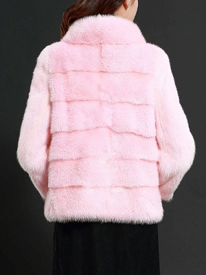 Pink Solid Stand Collar Buttoned Fluffy  Fur and Shearling Coat_3