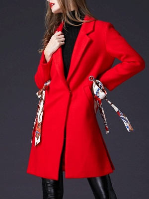 Red Casual Buttoned Lapel Coat_1