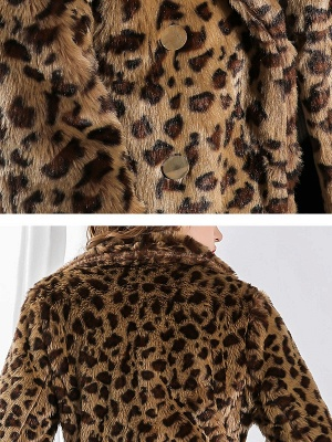 Camel Shawl Collar Shift Casual Long Sleeve Fur and Shearling Coat_6