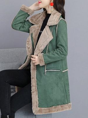 Paneled Zipper Lapel Casual Fur And Shearling Coats_10
