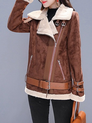 Coffee Paneled Pockets Zipper Fur and Shearling Coat_6