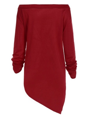 Sexy Burgundy Printed Off Shoulder Long Sleeves Cotton Merry Christmas Casual Dresses with Irregular Hem_3