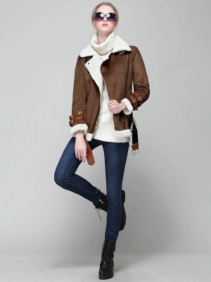 Long Sleeve Zipper Solid Casual Fur And Shearling Coats_9