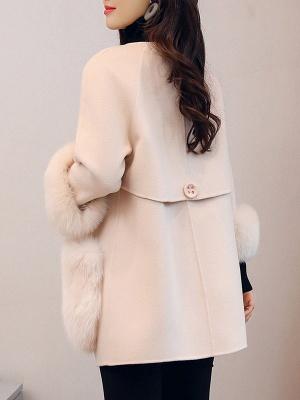 Beige Solid Simple Coat_3
