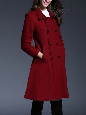 Long Sleeve Casual Lapel Buttoned Solid Coat_7