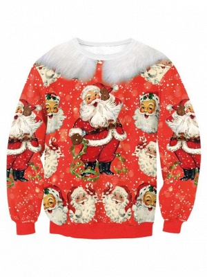 Red Santa Claus Printed Long Sleeves Ugly Christmas Sweatshirt for Women_1