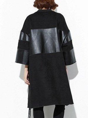 Black PU Paneled Zipper 3/4 Sleeve Coat_3