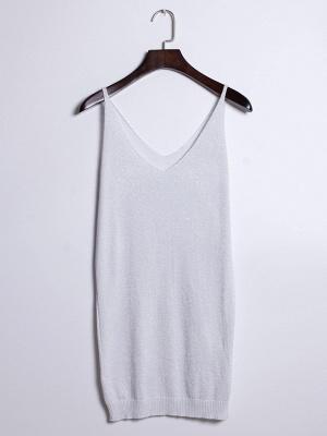 Sleeveless Deep V-neck Silver Wire Knit Harness Vest Tank Top_1