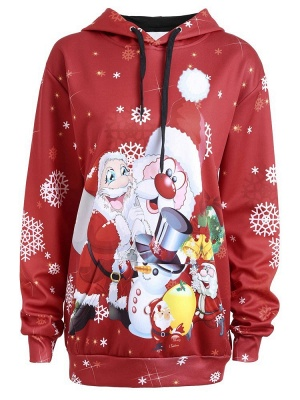 Christmas Hooded Couple Clothes Red Cartoon Santa Claus Snowflake Printed Long Sleeves Thick Hoodie for Men/Women - WSDe_1