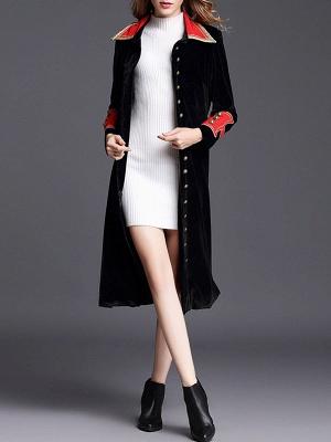 Black Solid Shift Elegant Velvet Coat_1