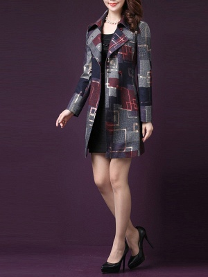 Purple Work Shirt Collar Checkered/Plaid Elegant Coat_5