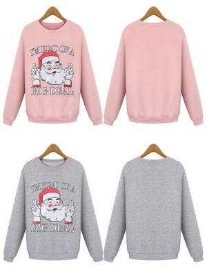 Plus Size Funny Christmas Sweatshirts Letter Santa Claus Printed Cute Thick Fleece Loose Sweats Womens_3