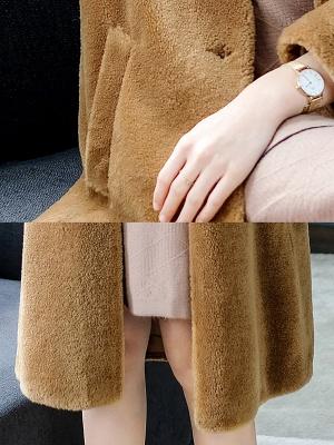 Brown Shawl Collar Casual Fur And Shearling Coats_7
