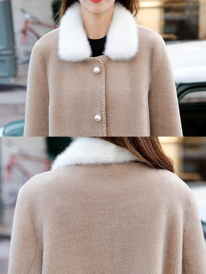 Buttoned Solid Shirt Collar Paneled Fur And Shearling Coats_8