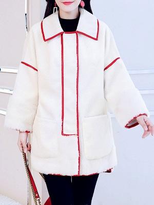White Long Sleeve Shirt Collar Fur And Shearling Coats_1