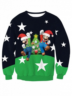Navy and Green Star Santa Claus Christmas Tree Printed Long Sleeves Sweatshirts for Women_1