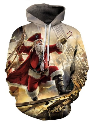 Ugly Christmas Plus Size Couple Hoodies Santa Claus Pirate Fashion Printed Hooded Clothes for Men/Women_2
