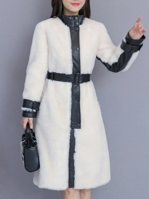 Pockets Long Sleeve Fur And Shearling Coats_2