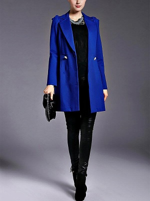 Blue Long Sleeve Buttoned Casual Coat_5