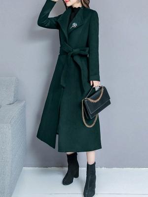Long Sleeve Casual Shawl Collar Solid Coat_9