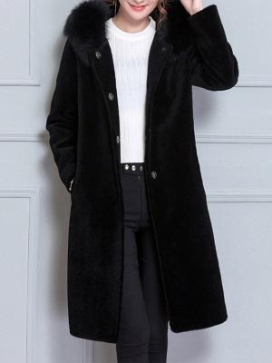 Long Sleeve Pockets Hoodie Shift Casual Fluffy  Coat_4
