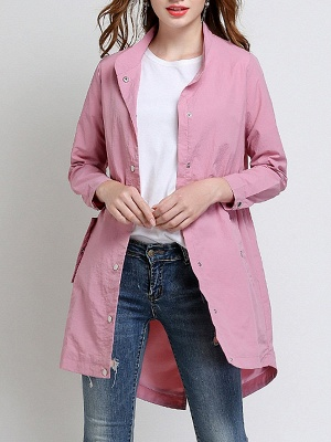 Pink Long Sleeve Stand Collar Coat_8