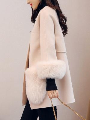 Beige Solid Simple Coat_4