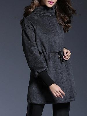 Gray Raglan Sleeve Paneled Coat_7