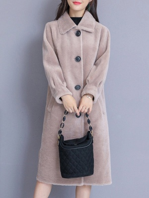 Casual Buttoned Pockets Fur And Shearling Coats_2