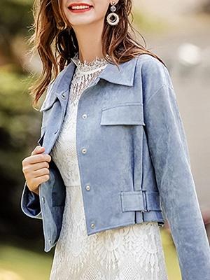 Blue Shirt Collar Long Sleeve Solid Coat_8