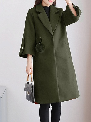 Solid Long Sleeve Casual Coat_3