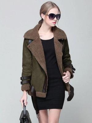 Long Sleeve Zipper Solid Casual Fur And Shearling Coats_2