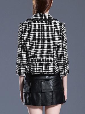 Black Casual Checkered/Plaid Coat_3