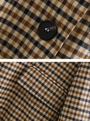 Casual Gingham Buttoned Pockets Shift Lapel Slit Coat_4